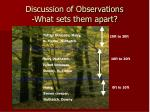 discussion of observations what sets them apart