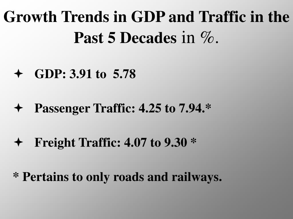 Growth Trends in GDP and Traffic in the Past 5 Decades