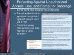 protecting against unauthorized access use and computer sabotage6