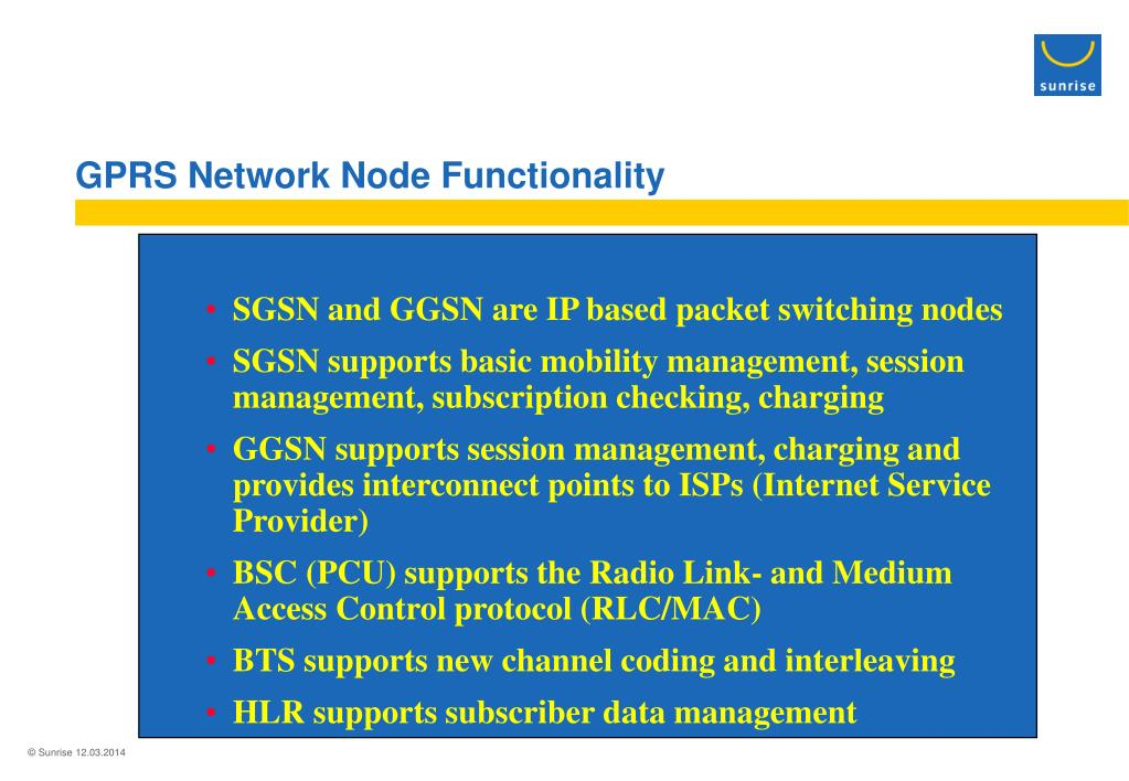 GPRS Network Node Functionality