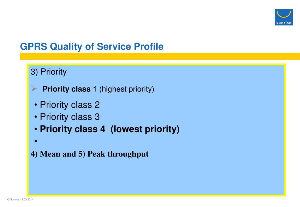 GPRS Quality of Service Profile