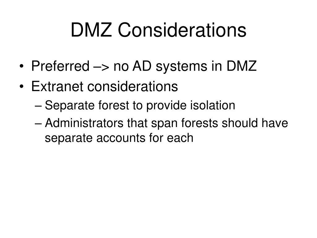 DMZ Considerations