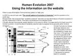 human evolution 2007 using the information on the website