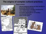 the origins of complex cultural practices