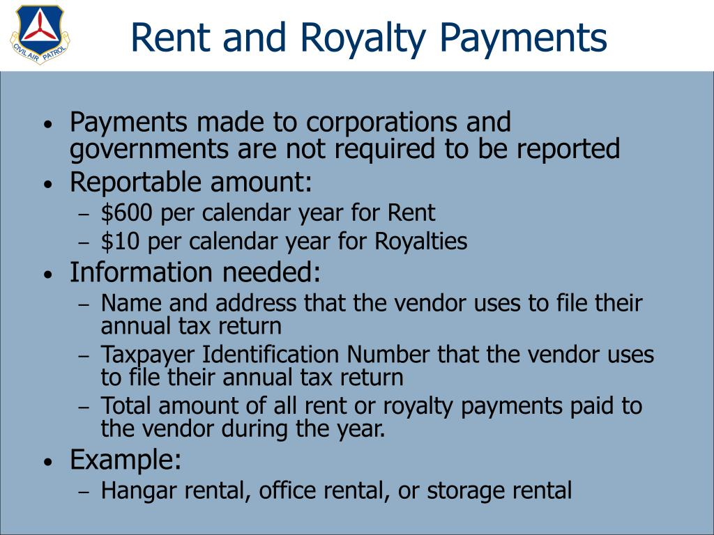 Rent and Royalty Payments