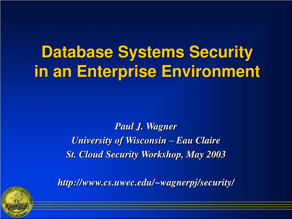 database systems security in an enterprise environment l.