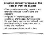 establish company programs the case of work life balance