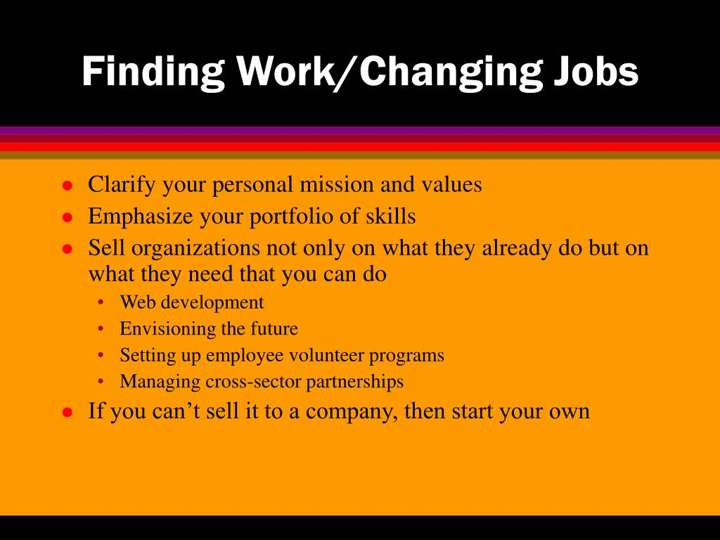 Finding Work/Changing Jobs
