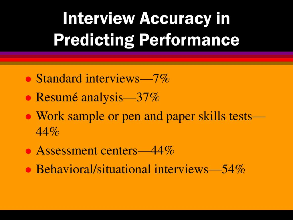 Interview Accuracy in Predicting Performance