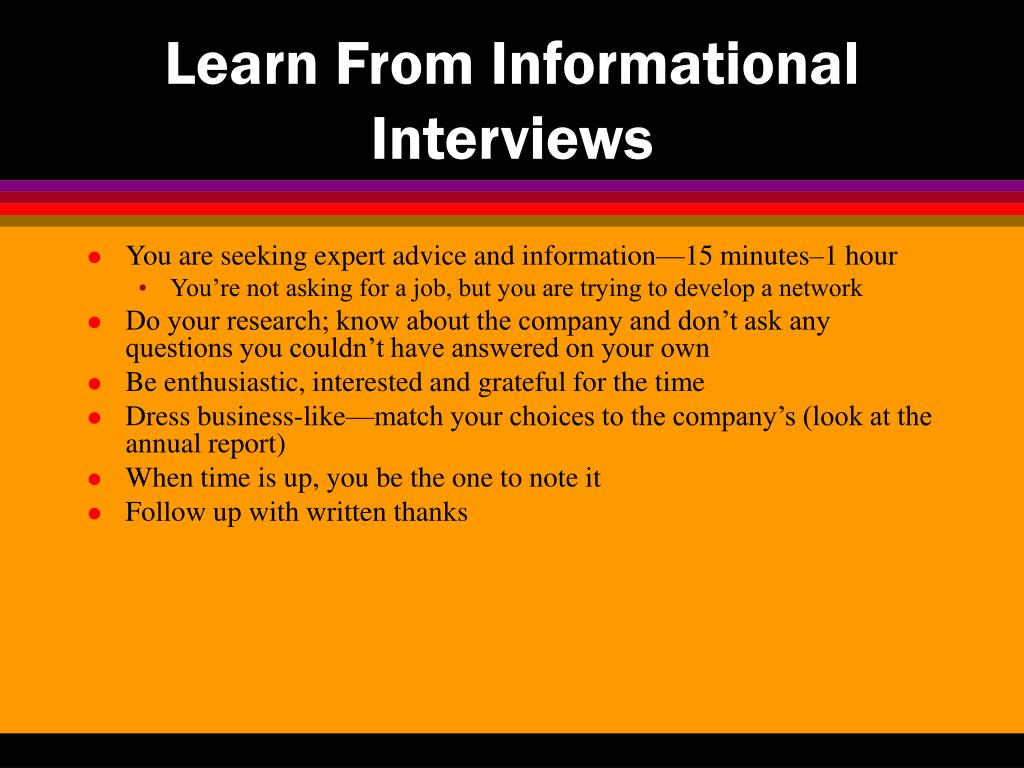 Learn From Informational Interviews
