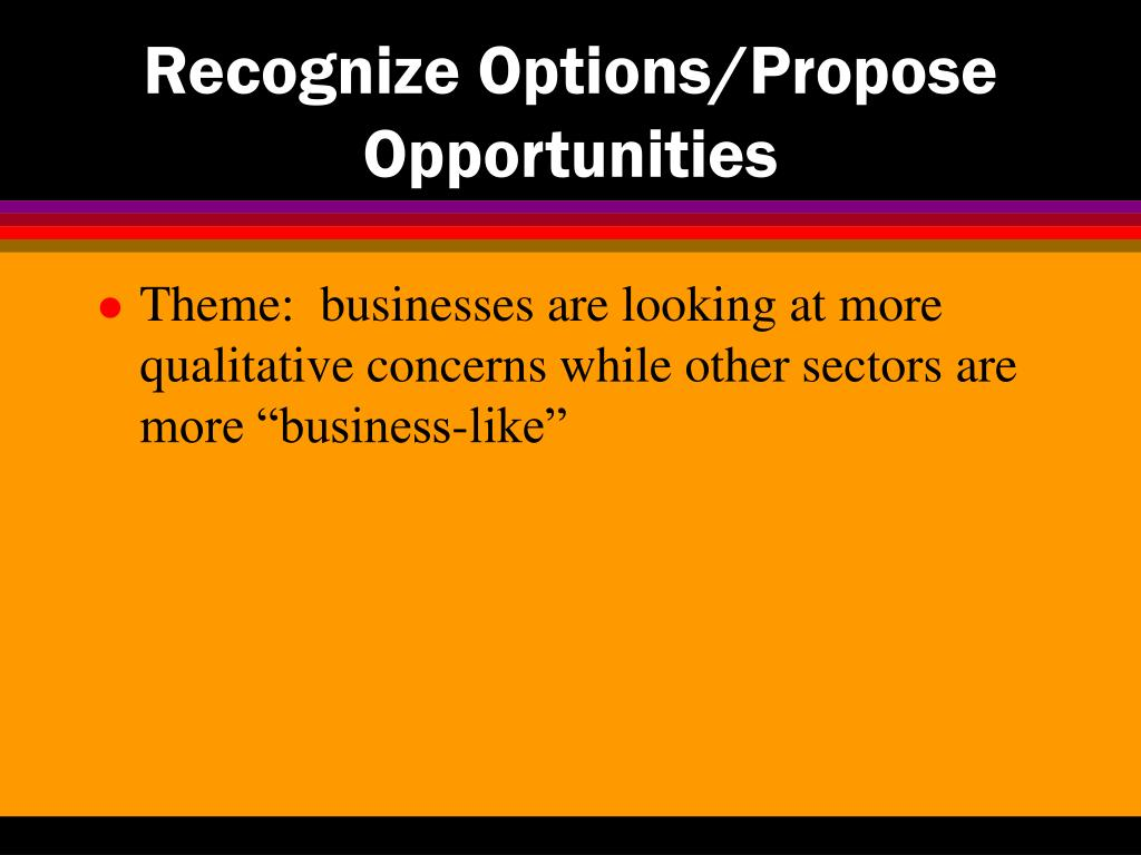 Recognize Options/Propose Opportunities
