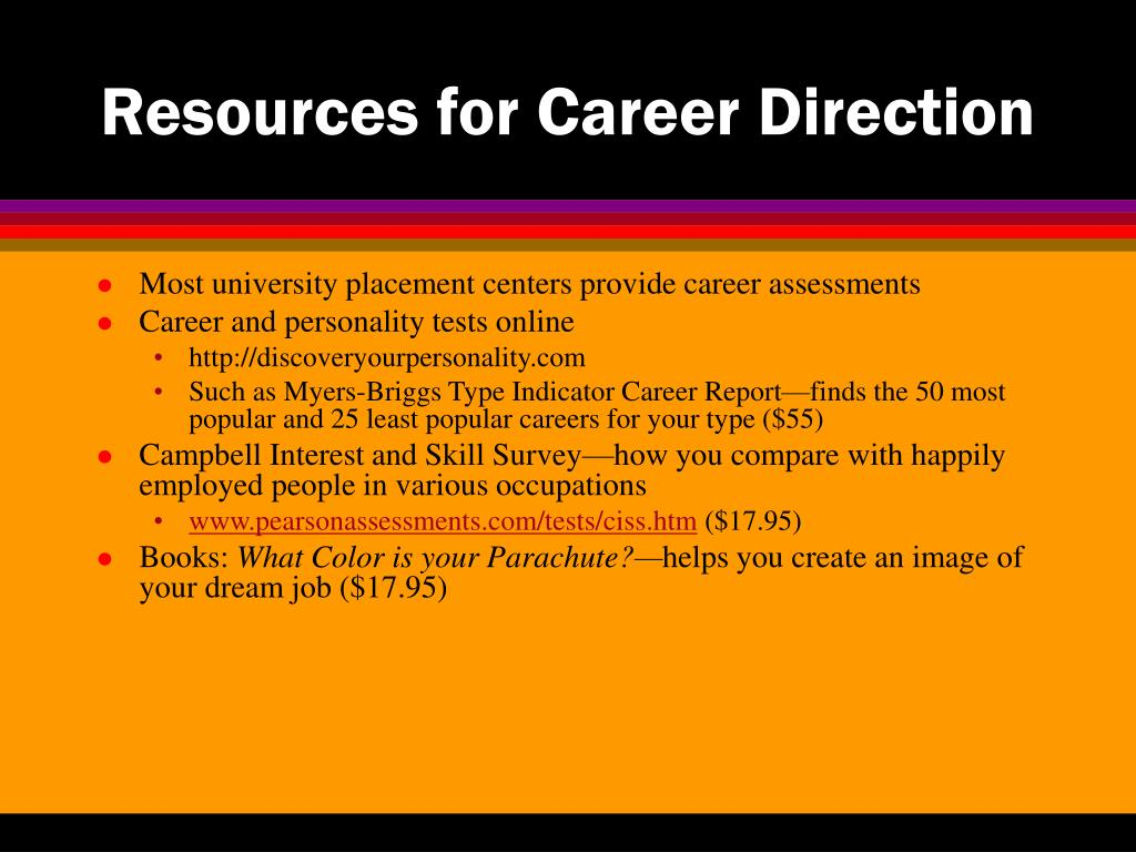Resources for Career Direction