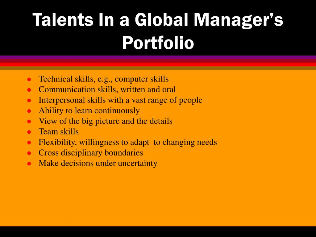 Talents In a Global Manager's Portfolio