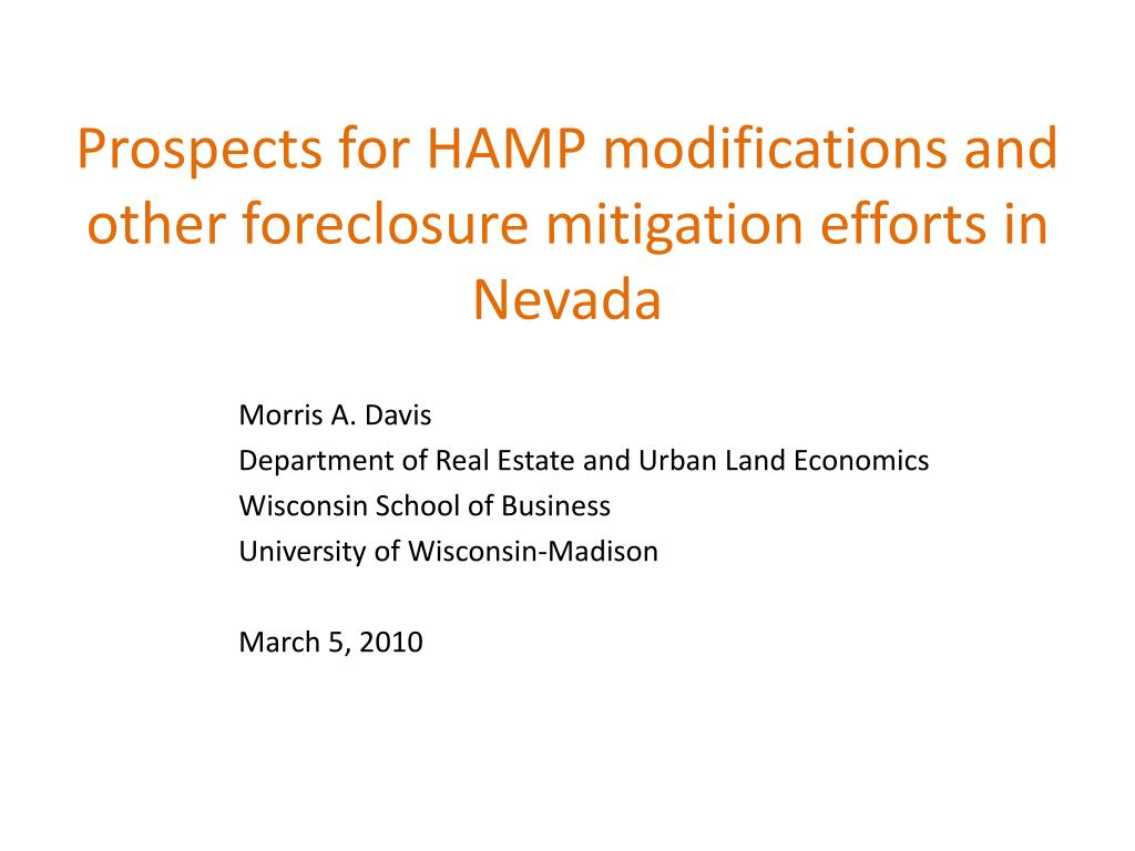 prospects for hamp modifications and other foreclosure mitigation efforts in nevada l.