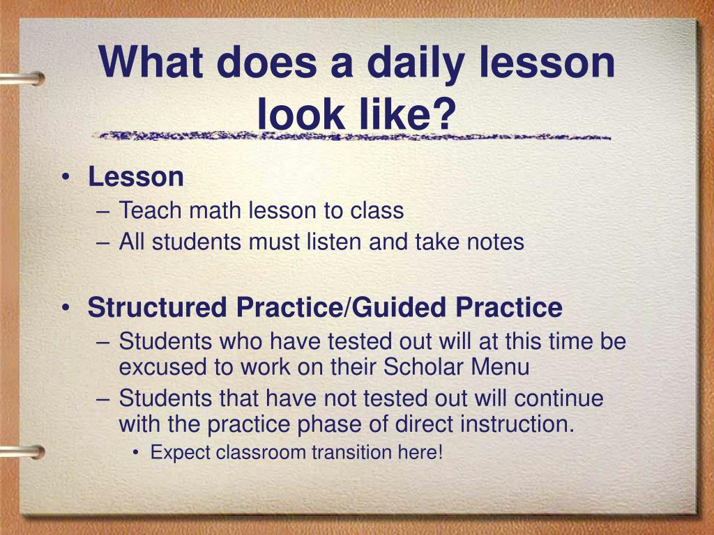 What does a daily lesson look like?
