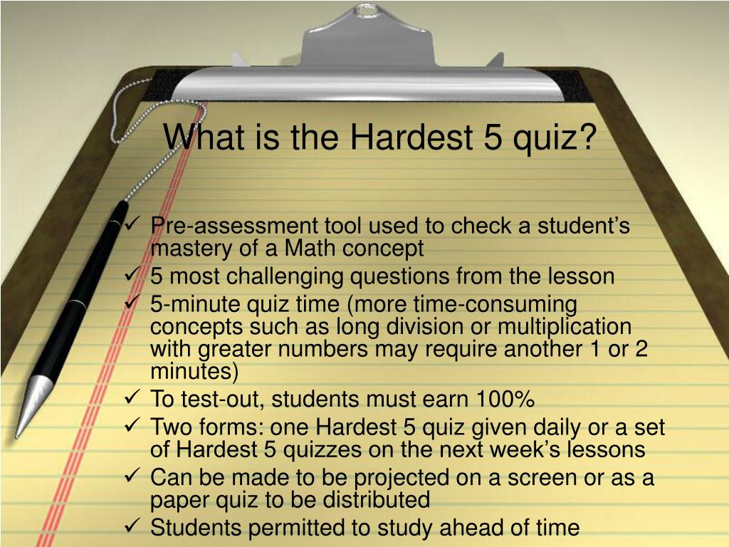 What is the Hardest 5 quiz?
