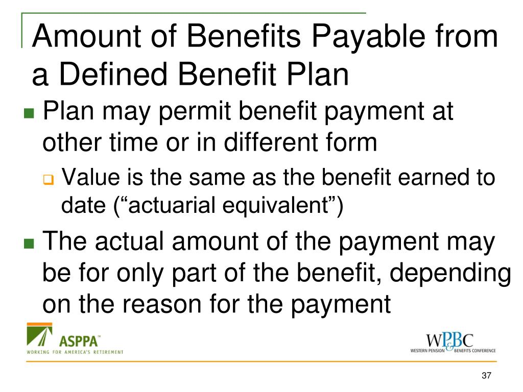 Amount of Benefits Payable from a Defined Benefit Plan