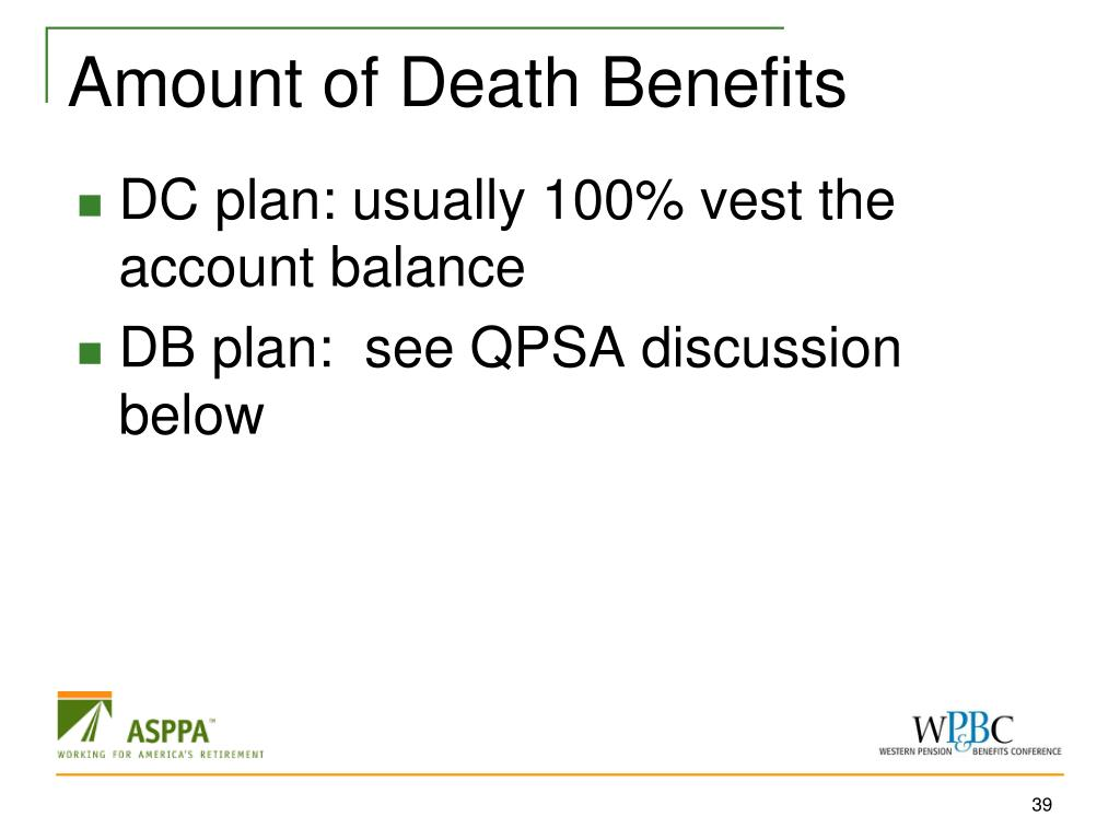 Amount of Death Benefits