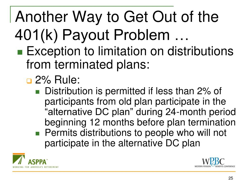 Another Way to Get Out of the 401(k) Payout Problem …