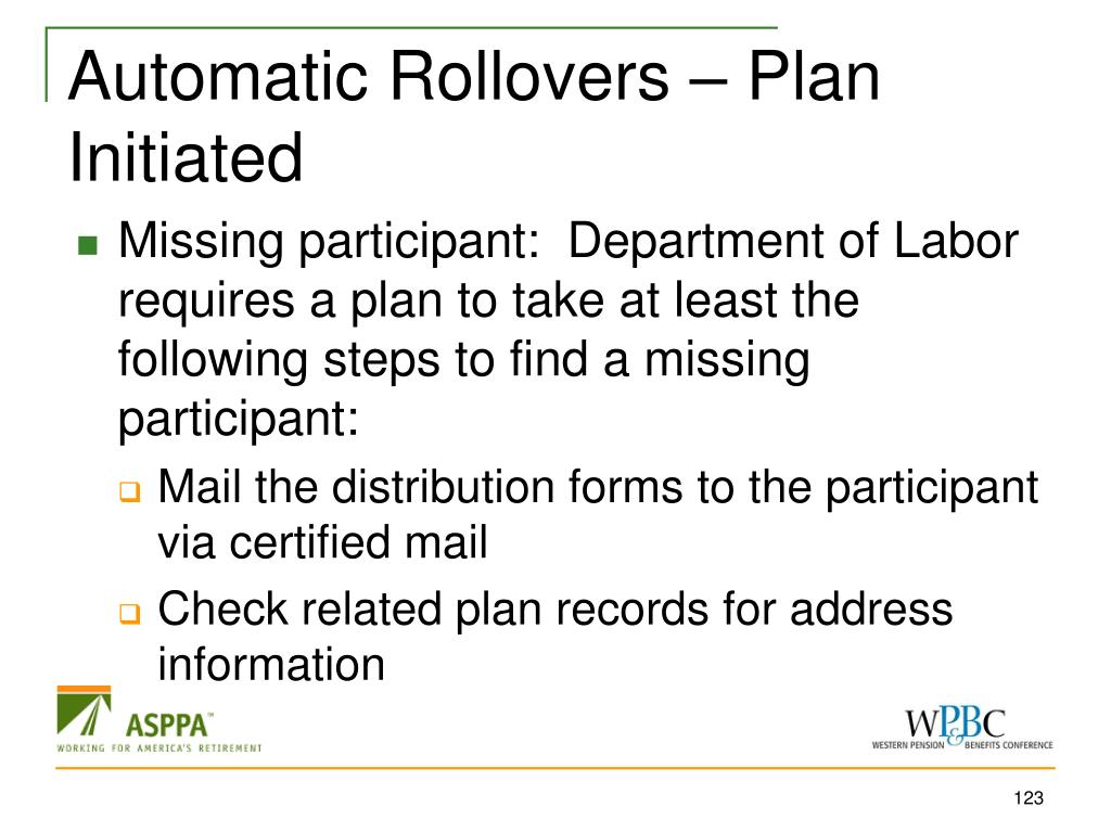 Automatic Rollovers – Plan Initiated
