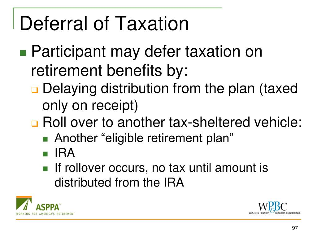 Deferral of Taxation