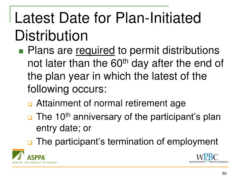 Latest Date for Plan-Initiated Distribution