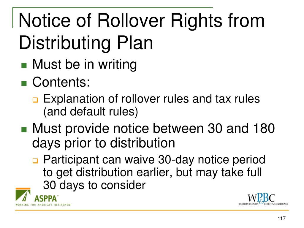 Notice of Rollover Rights from Distributing Plan