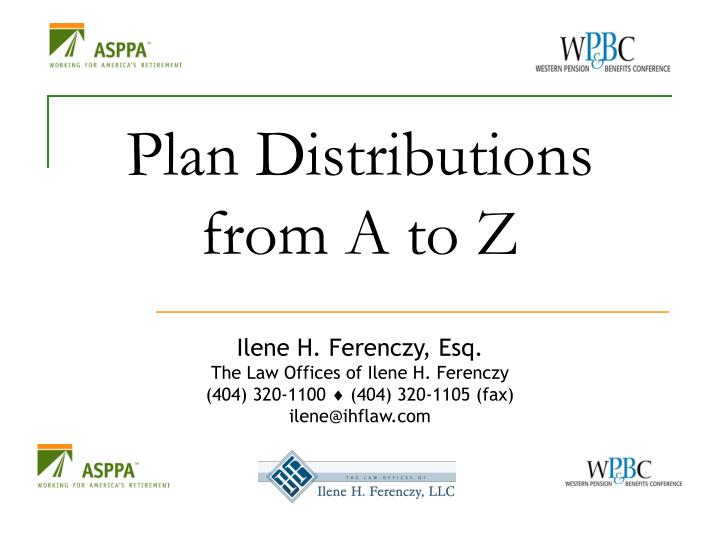 Plan distributions from a to z