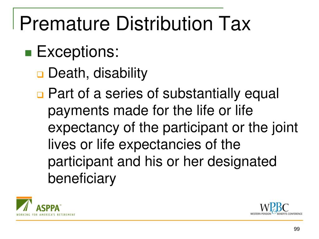 Premature Distribution Tax