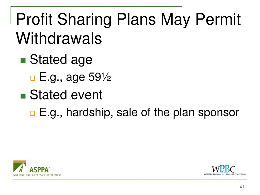 Profit Sharing Plans May Permit Withdrawals