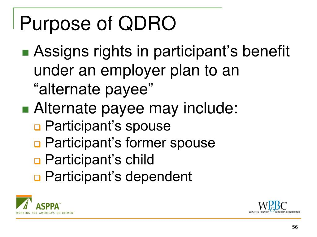Purpose of QDRO