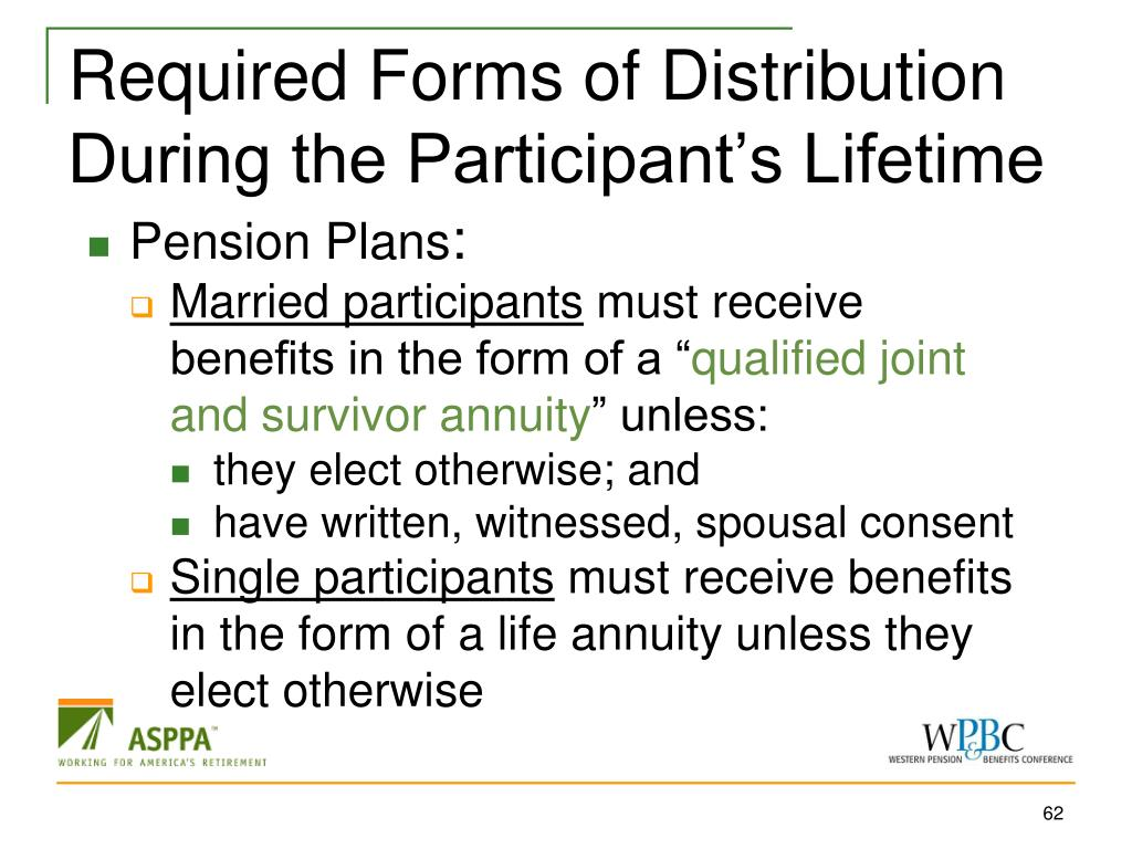 Required Forms of Distribution During the Participant's Lifetime