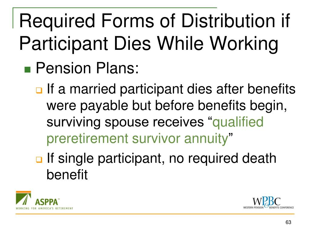 Required Forms of Distribution if Participant Dies While Working