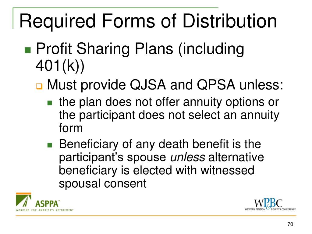 Required Forms of Distribution