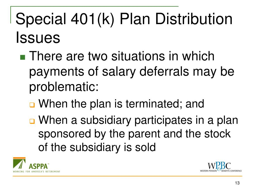Special 401(k) Plan Distribution Issues