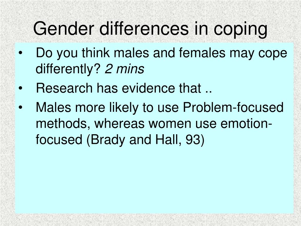 Gender differences in coping