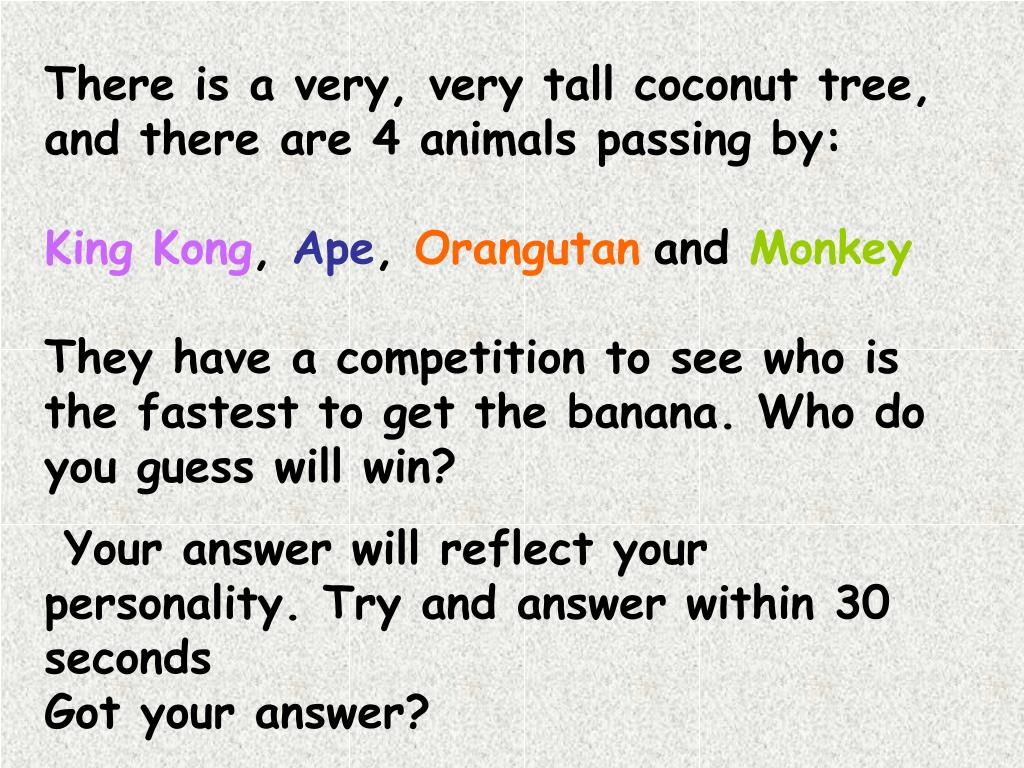 There is a very, very tall coconut tree, and there are 4 animals passing by: