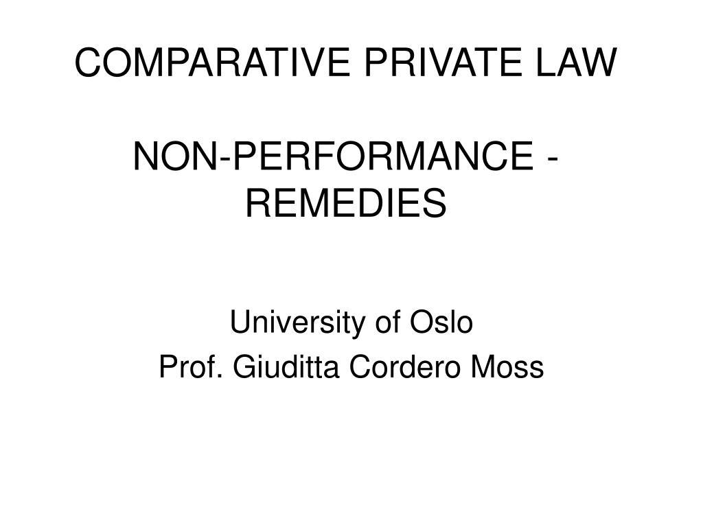 comparative private law non performance remedies l.