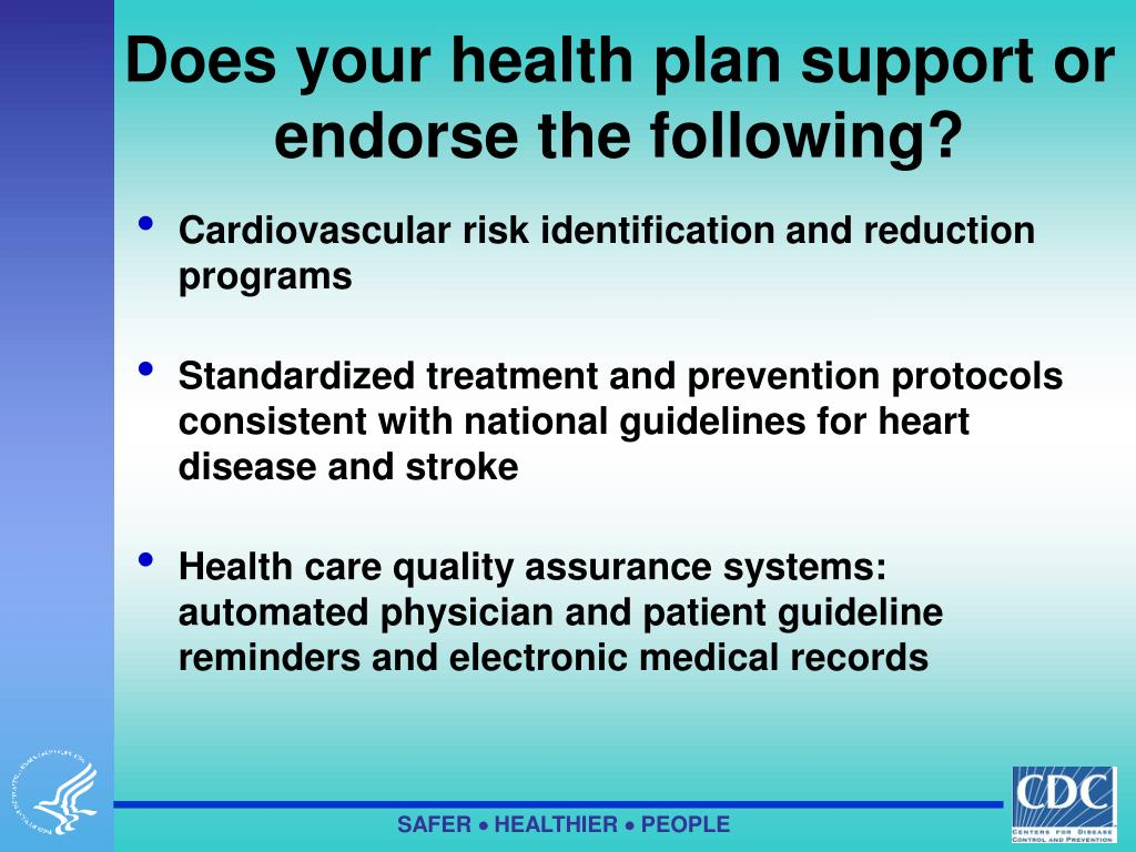 Does your health plan support or endorse the following?