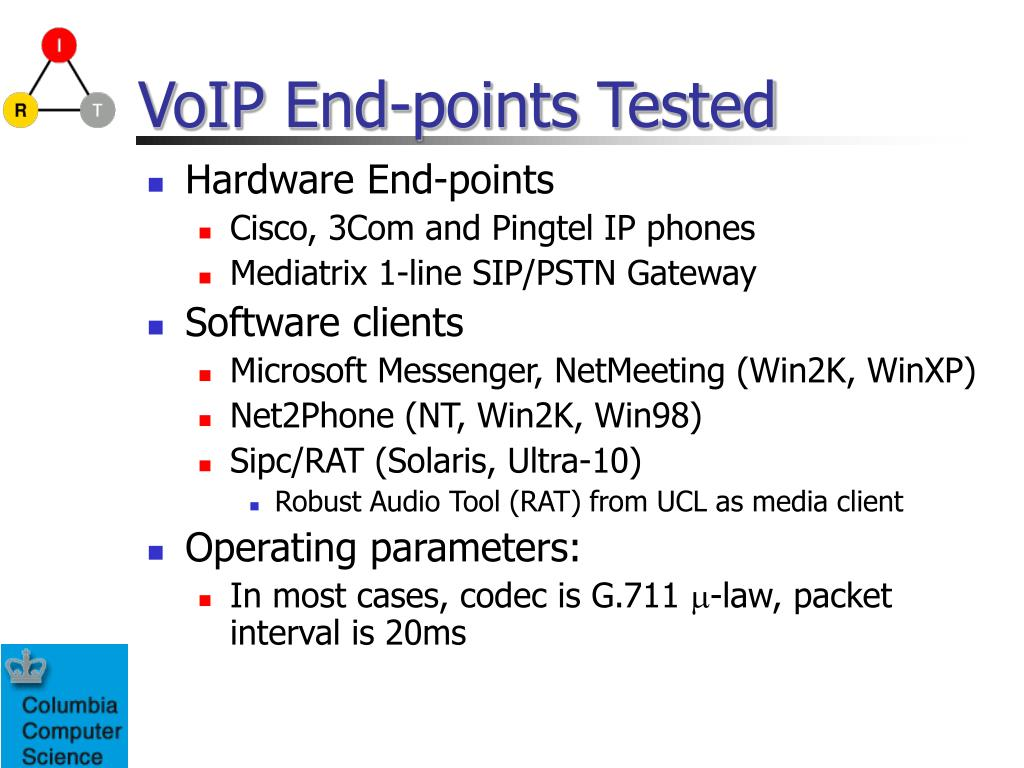 VoIP End-points Tested