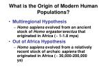 what is the origin of modern human populations