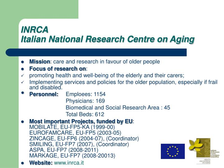 Inrca italian national research centre on aging