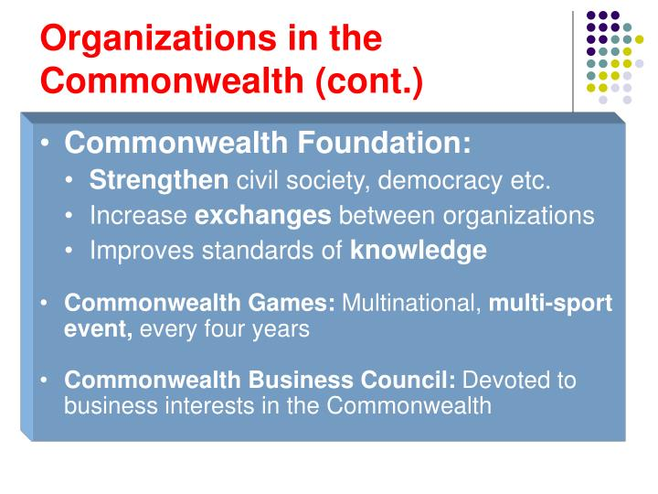 Organizations in the Commonwealth (cont.)