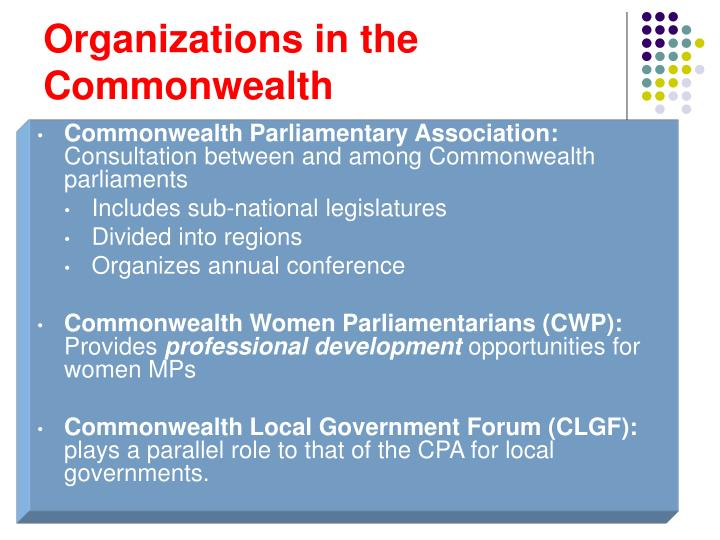 Organizations in the Commonwealth