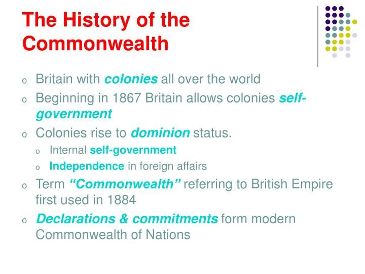 The history of the commonwealth