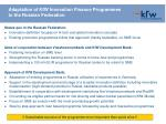 adaptation of kfw innovation finance programmes to the russian federation