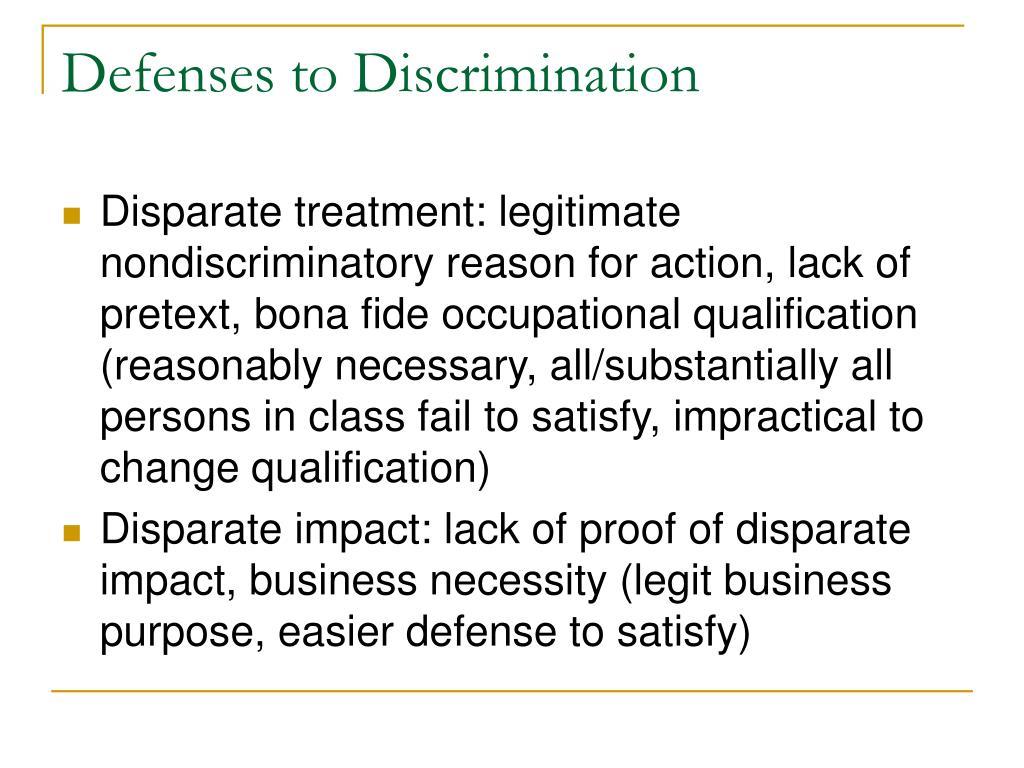 Defenses to Discrimination