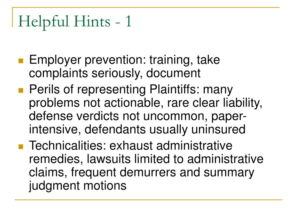 Helpful Hints - 1