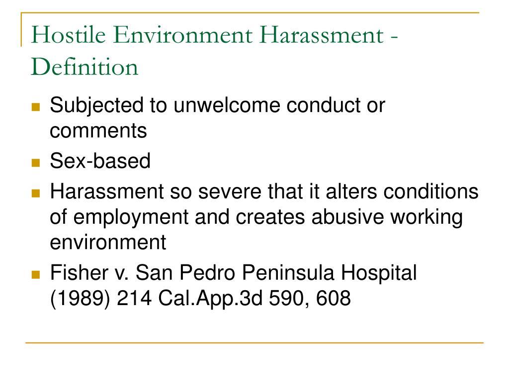 Hostile Environment Harassment - Definition