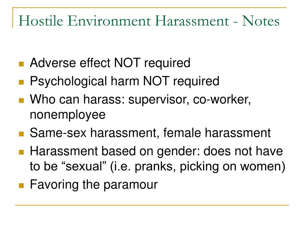 Hostile Environment Harassment - Notes